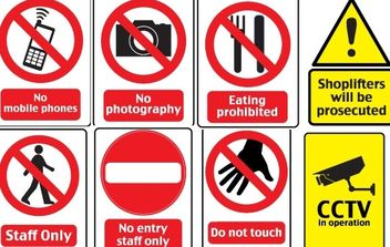 18 Warning Signs - vector #177657 gratis
