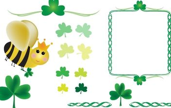 Shamrocks and Queen Bee - vector gratuit #178127
