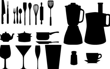 Free Vector Kitchen Appliances Silhouettes - vector gratuit #178437