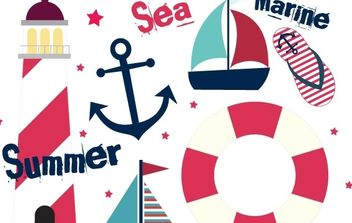 Summer Sail Design Set - Kostenloses vector #178557