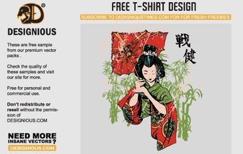 Japanese Geisha Vector T-Shirt Template - Free vector #178587