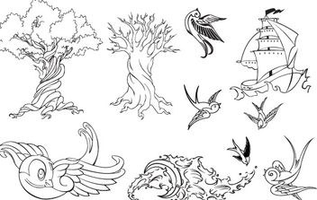Tattoo Vector Set - Free vector #178597