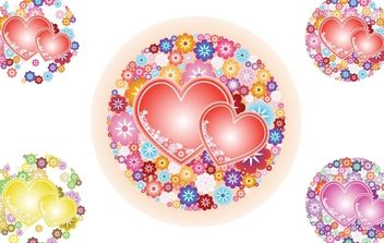 Flowery Hearts Vector - Free vector #178617