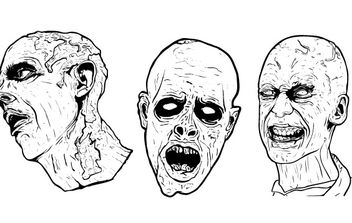 3 Free Illustrated Scary Zombie Vector Graphics - vector #178667 gratis