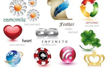24 Beautiful and Free 3D Vector Icons - vector #178767 gratis