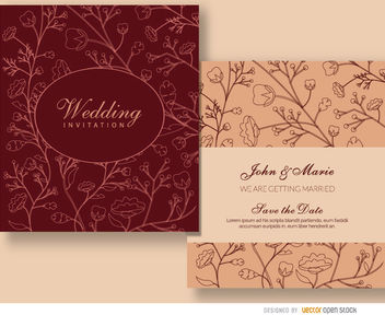 Floral marriage invitation sleeve - Free vector #179497