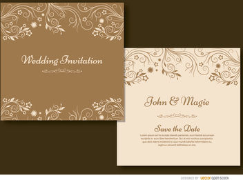 Brown floral wedding invitation - Free vector #179507