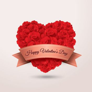 Heart Shaped Rose Bouquet with Valentine Ribbon - vector gratuit #179537