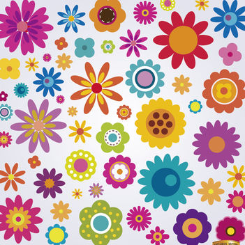 Many colorful flowers set - Free vector #179547