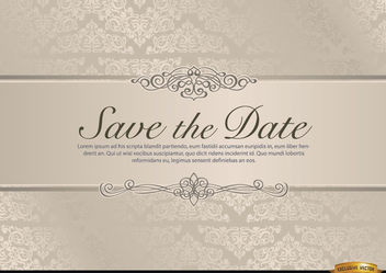 Wedding invitation with floral riband - Free vector #179557