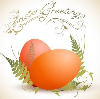 Easter Eggs with Ferns - Free vector #179607