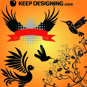 Flying Bird Wing and Swirly Floral - vector gratuit #179657