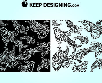 Funky Line Art Fish Wallpaper - Free vector #179697