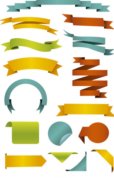 Colourful Ribbons and labels set - Free vector #179727