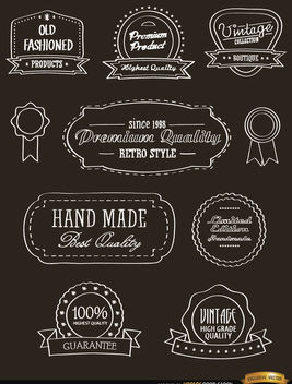 10 Vintage Ribbons and seals stickers - Free vector #179737
