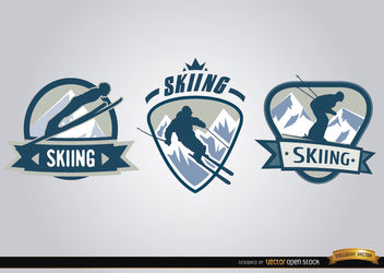 3 ski sport labels - vector gratuit #179747