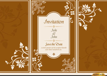 Floral triptych brochure wedding invitation - vector #179887 gratis