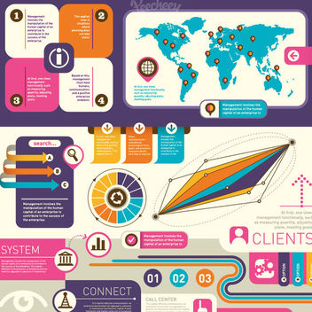 Colorful Retro Infographic Design Element - Free vector #179957