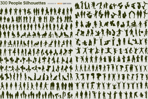 300 people silhouettes - vector gratuit #179967