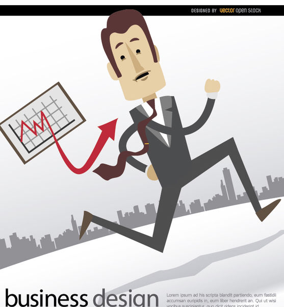 Businessman running graph skyline - vector gratuit #179997