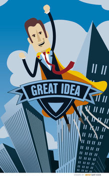 Business superhero idea - vector gratuit #180007