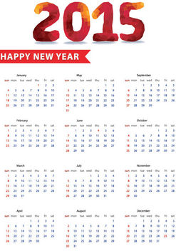 Polygonal Typography 2015 New Year Calendar - Free vector #180097