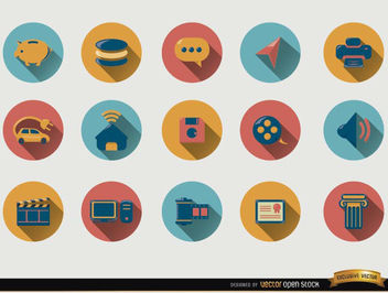 15 Round icons with drop shadow - vector #180107 gratis