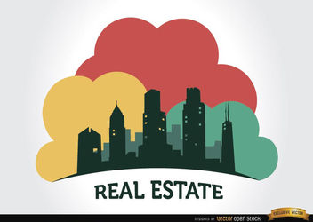 Real estate buildings company logo - Free vector #180117