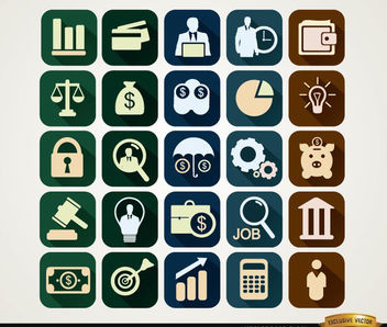 Squared financial icons - vector gratuit #180127