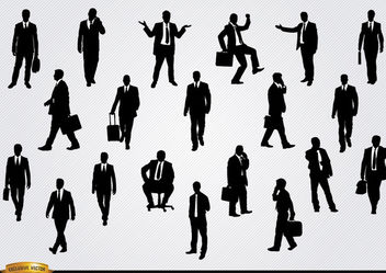 Businessmen in different situations silhouettes - Free vector #180157