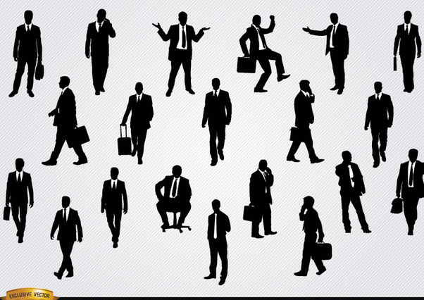 Businessmen in different situations silhouettes - Kostenloses vector #180157
