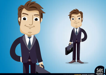 Executive character with briefcase - Free vector #180187