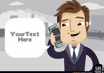 Executive talking by cell phone text cloud - vector gratuit #180197
