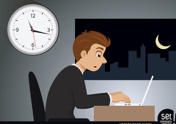 Hardworking Businessman Working Late Night - vector gratuit #180247