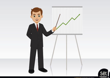 Businessman showing a growing graphic - vector gratuit #180267
