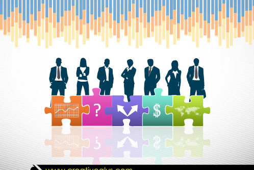 Business Peoples & Puzzles with Sign - Free vector #180287