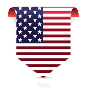 Labeled Tag American Flag - vector gratuit #180377