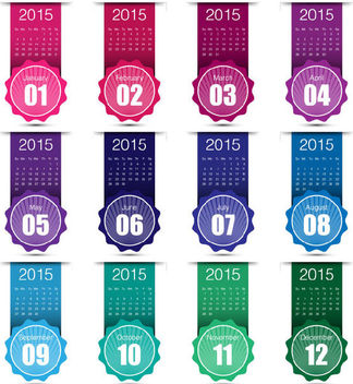 Colorful Labeled-Up Month Creative 2015 Calendar - vector #180447 gratis