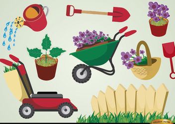 Gardening tools and plants set - Free vector #180477