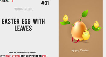 Easter Egg with Leaves and Chicks - vector gratuit #180547