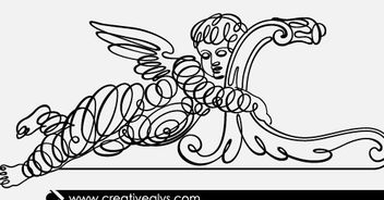Winged Kid Calligraphic Line Art - Free vector #180607