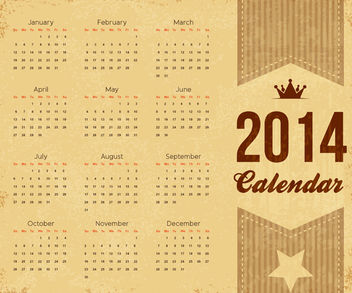 Vintage 2014 Brownie Calendar Template - бесплатный vector #180617