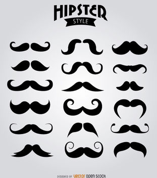 18 Hipster Moustaches - Free vector #180697