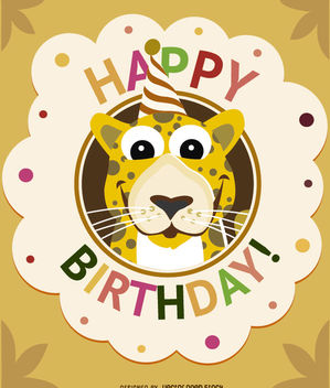 Birthday cartoon leopard card - vector #180707 gratis
