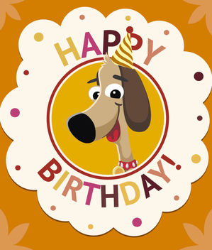 Birthday children dog card - Free vector #180717