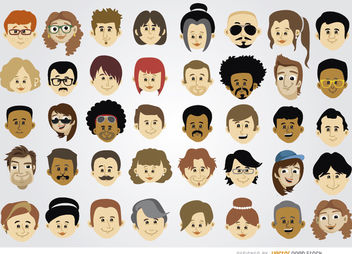 40 Cartoon character heads - vector gratuit #180727