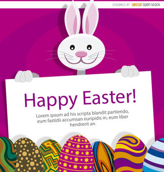 Easter bunny eggs placard - Free vector #180737