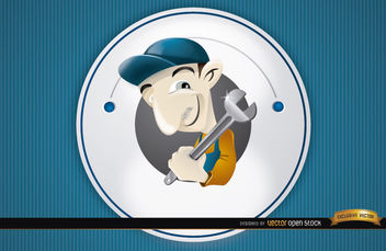 Plumber round cartoon logo - бесплатный vector #180747