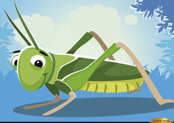 Cartoon Grasshopper insect on grass - Free vector #180777