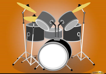 Drum set musical instrument - Free vector #180867